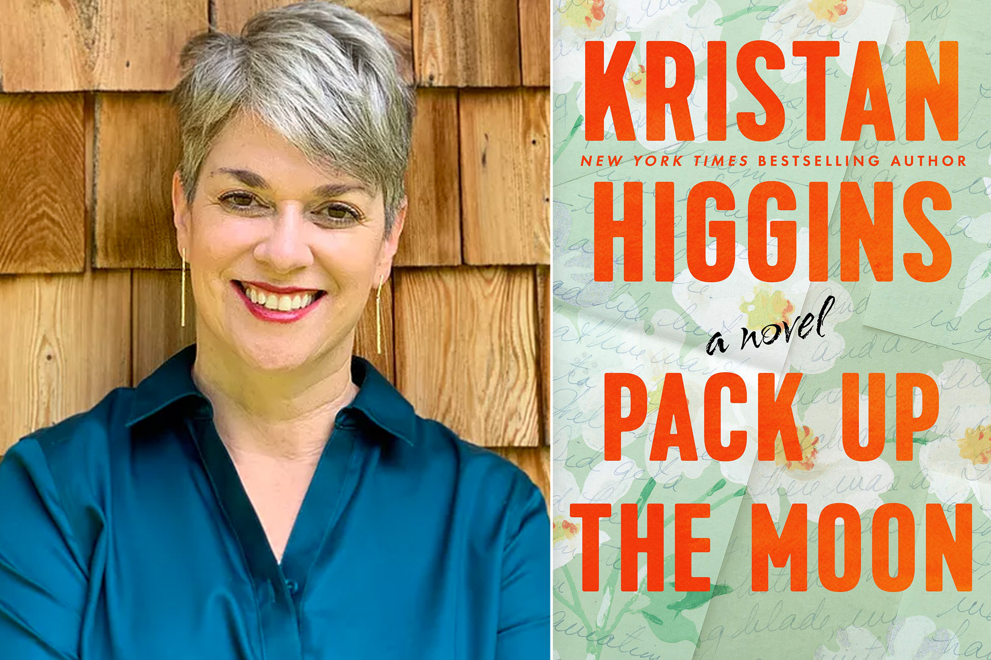 Kristan Higgins Author Photo and Pack Up the Moon Book Cover